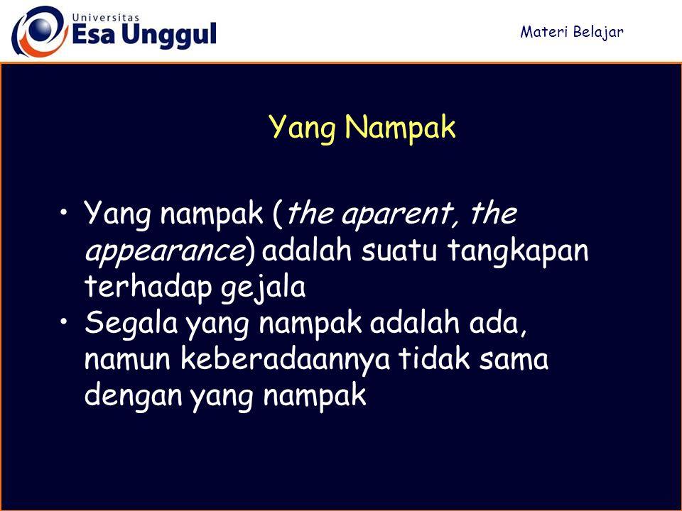 Yang nampak (the aparent, the appearance) adalah suatu tangkapan terhadap gejala Segala yang nampak adalah ada, namun keberadaannya tidak sama dengan