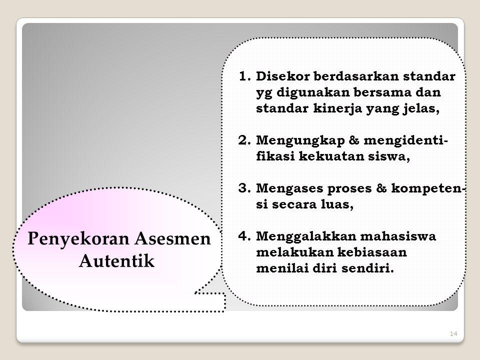 14 Penyekoran Asesmen Autentik 1.Disekor berdasarkan standar yg digunakan bersama dan standar kinerja yang jelas, 2.Mengungkap & mengidenti- fikasi ke