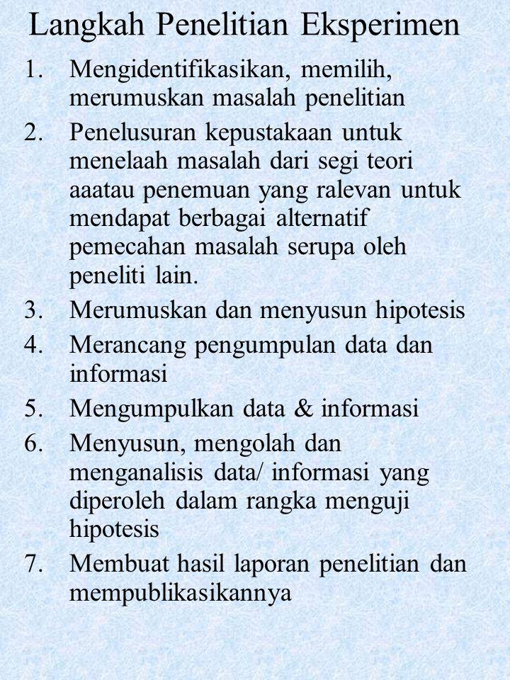 Langkah Penelitian Eksperimen 1.Mengidentifikasikan, memilih, merumuskan masalah penelitian 2.Penelusuran kepustakaan untuk menelaah masalah dari segi