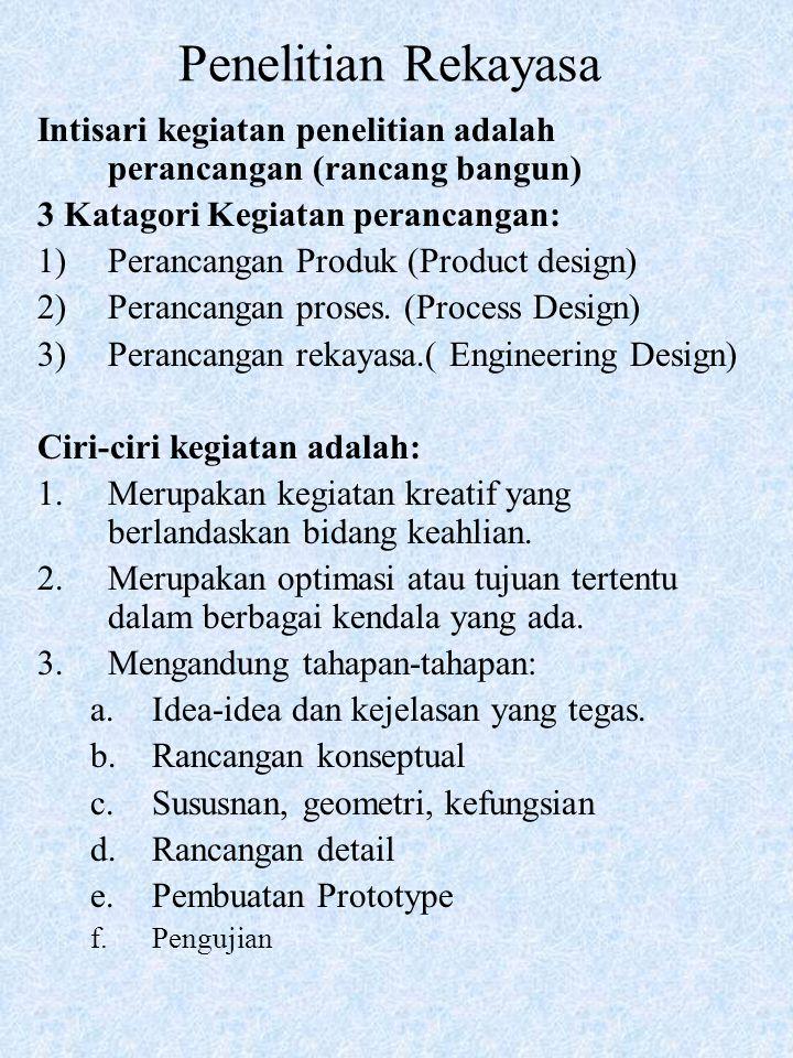 Penelitian Rekayasa Intisari kegiatan penelitian adalah perancangan (rancang bangun) 3 Katagori Kegiatan perancangan: 1)Perancangan Produk (Product design) 2)Perancangan proses.