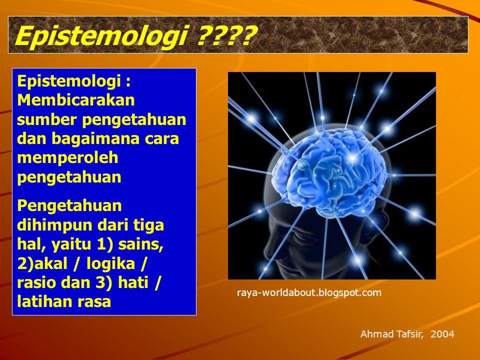 Epistemologi ???? raya-worldabout.blogspot.com Epistemologi : Membicarakan sumber pengetahuan dan bagaimana cara memperoleh pengetahuan Pengetahuan di
