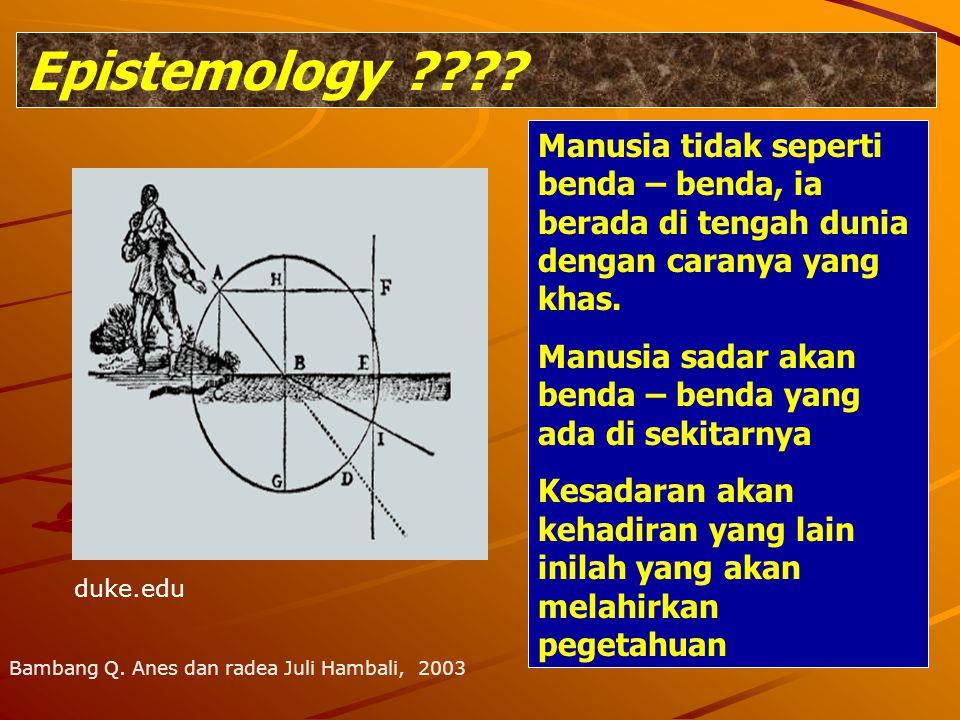 Epistemology ???? Manusia tidak seperti benda – benda, ia berada di tengah dunia dengan caranya yang khas. Manusia sadar akan benda – benda yang ada d