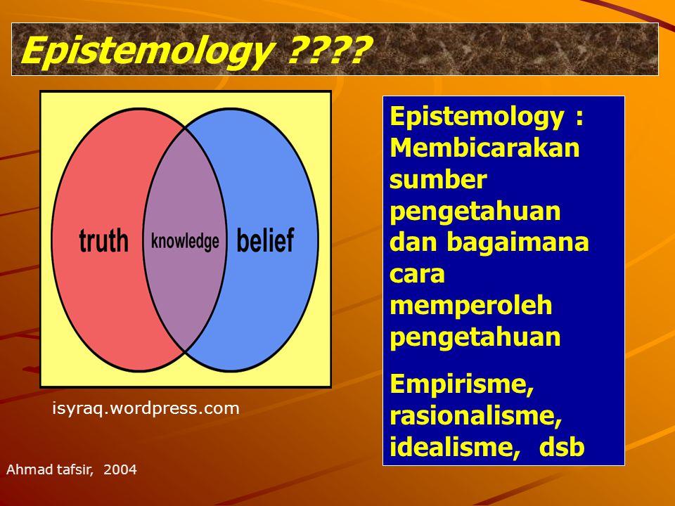 Epistemology ???? Epistemology : Membicarakan sumber pengetahuan dan bagaimana cara memperoleh pengetahuan Empirisme, rasionalisme, idealisme, dsb Ahm