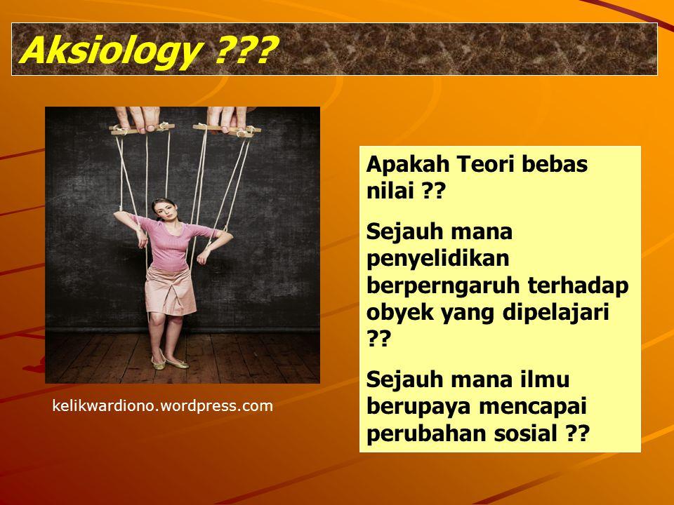 Aksiology ??? kelikwardiono.wordpress.com Apakah Teori bebas nilai ?? Sejauh mana penyelidikan berperngaruh terhadap obyek yang dipelajari ?? Sejauh m