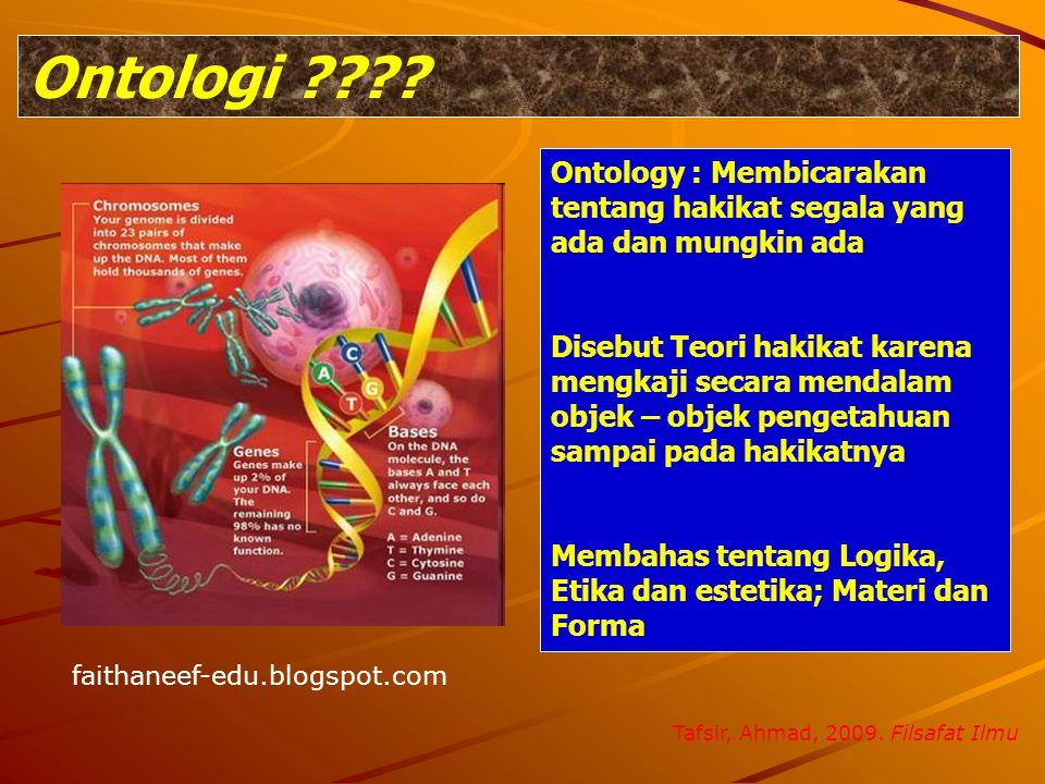 Ontologi ???? Ontology : Membicarakan tentang hakikat segala yang ada dan mungkin ada Disebut Teori hakikat karena mengkaji secara mendalam objek – ob
