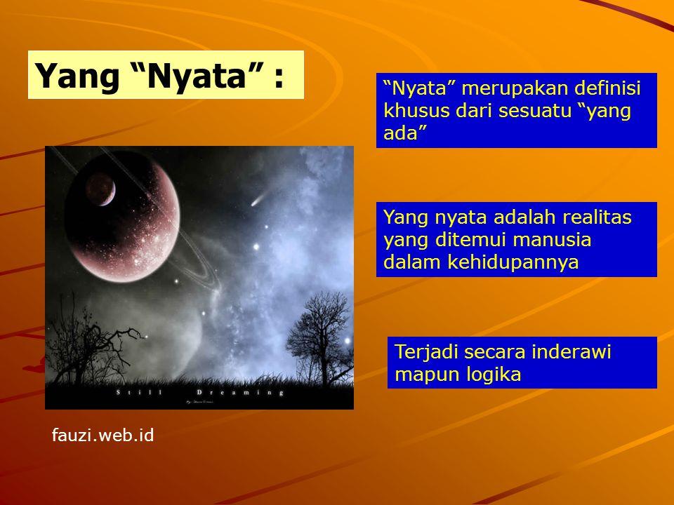 """Yang """"Nyata"""" : """"Nyata"""" merupakan definisi khusus dari sesuatu """"yang ada"""" Yang nyata adalah realitas yang ditemui manusia dalam kehidupannya Terjadi se"""