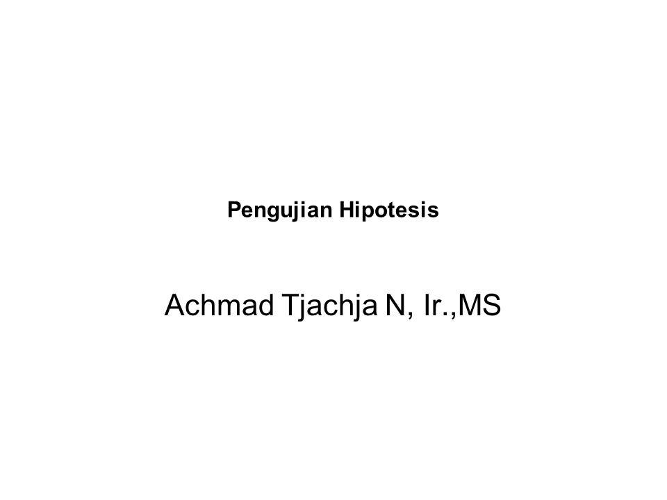 Pengujian Hipotesis Achmad Tjachja N, Ir.,MS