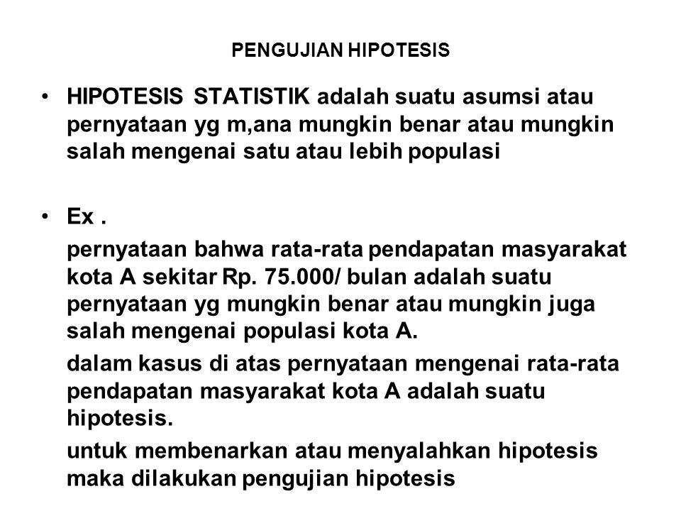 PENGUJIAN HIPOTESIS HIPOTESIS STATISTIK adalah suatu asumsi atau pernyataan yg m,ana mungkin benar atau mungkin salah mengenai satu atau lebih populasi Ex.