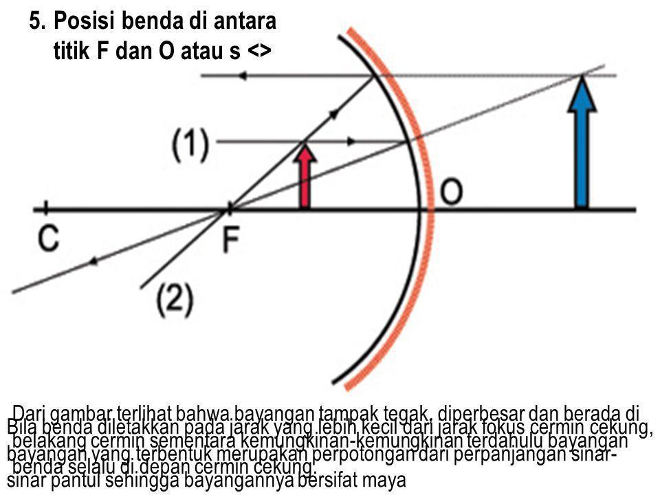 5.Posisi benda di antara titik F dan O atau s <> Bila benda diletakkan pada jarak yang lebih kecil dari jarak fokus cermin cekung, bayangan yang terbe