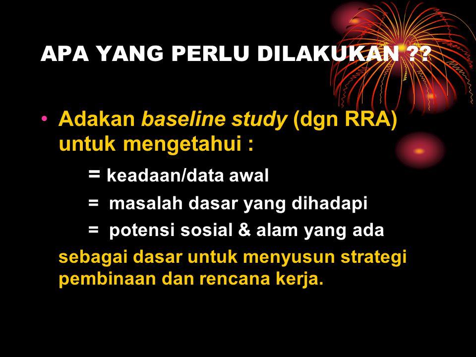 APA YANG PERLU DILAKUKAN ?? Adakan baseline study (dgn RRA) untuk mengetahui : = keadaan/data awal = masalah dasar yang dihadapi = potensi sosial & al