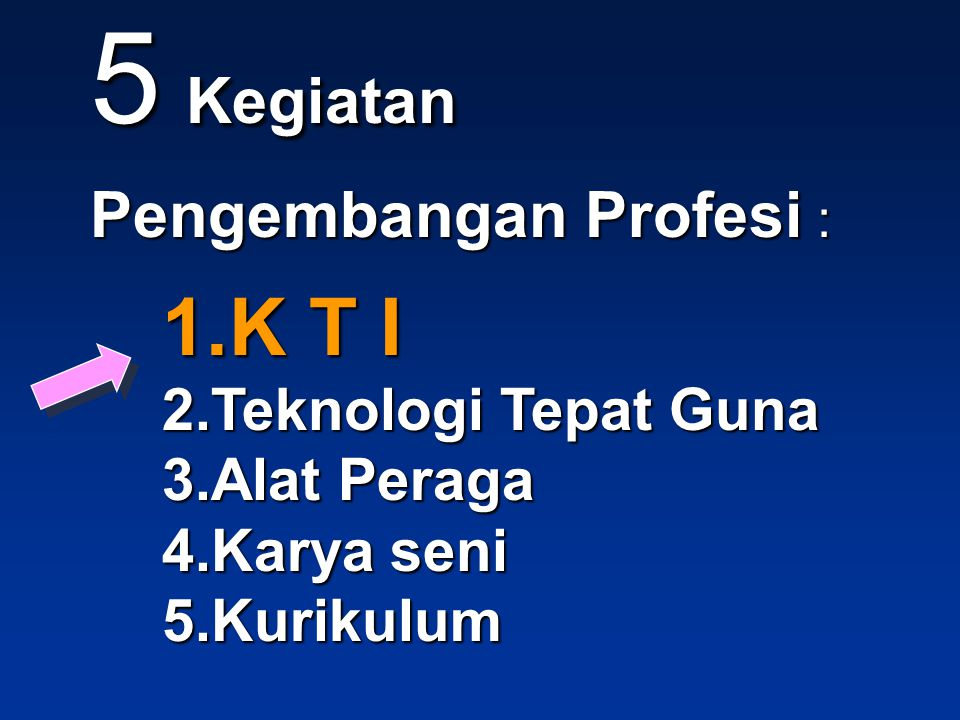 5 Kegiatan Pengembangan Profesi : 1.K T I 2.Teknologi Tepat Guna 3.Alat Peraga 4.Karya seni 5.Kurikulum