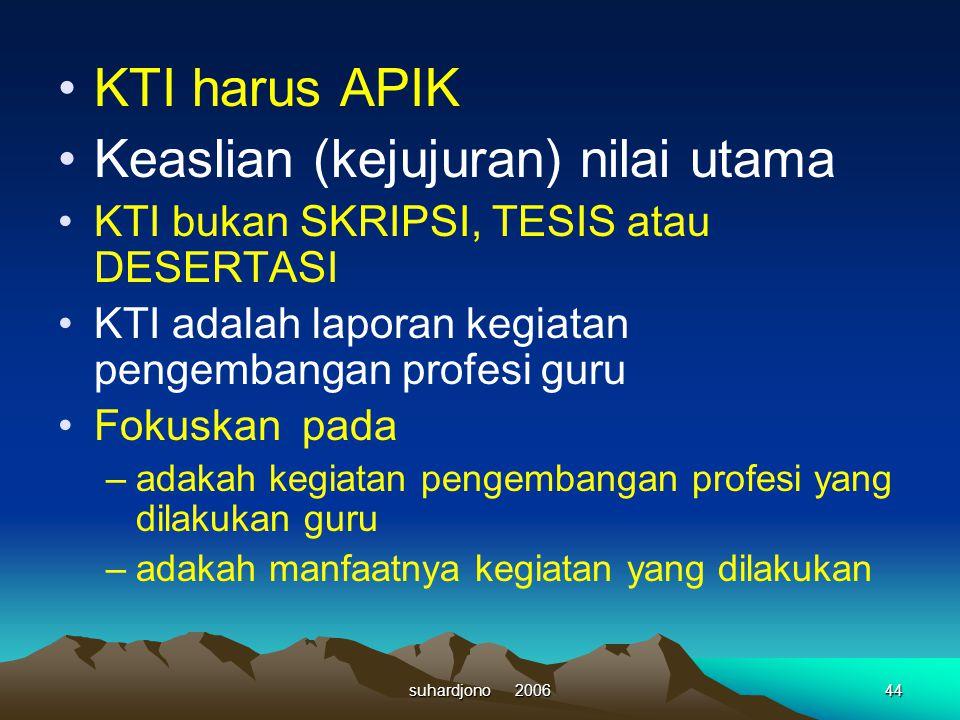 suhardjono 200643 Kegiatan pengembangan profesi guru = penerapan kegiatan untuk meningkatkan mutu PBM = ada kegiatan nyata yang bermanfaat KTI adalah