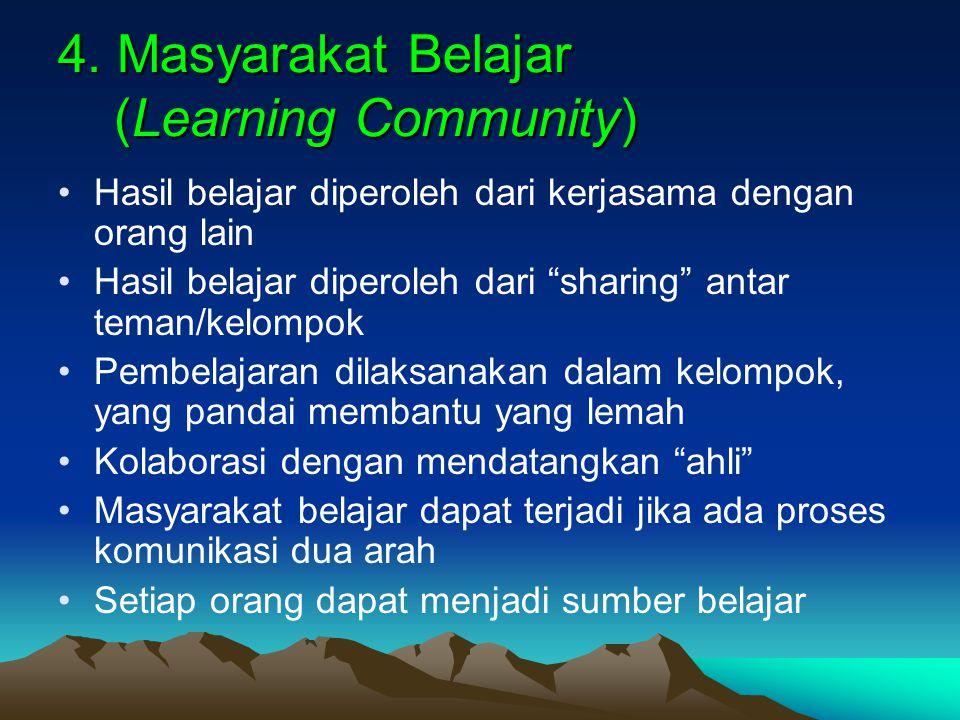 "4. Masyarakat Belajar (Learning Community) Hasil belajar diperoleh dari kerjasama dengan orang lain Hasil belajar diperoleh dari ""sharing"" antar teman"