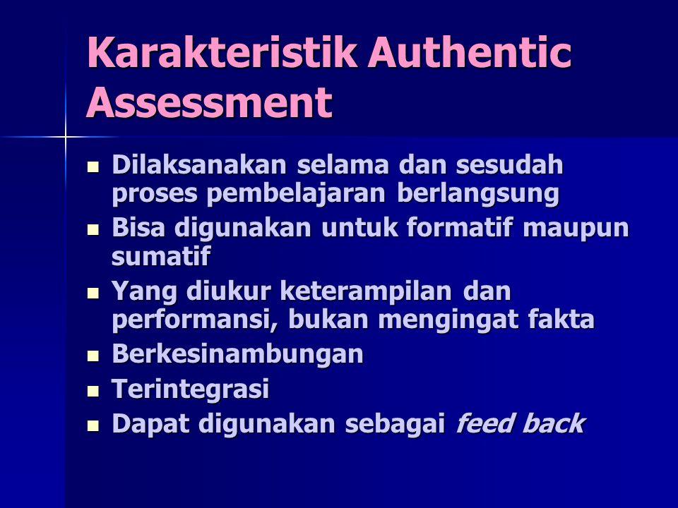 Karakteristik Authentic Assessment Dilaksanakan selama dan sesudah proses pembelajaran berlangsung Dilaksanakan selama dan sesudah proses pembelajaran berlangsung Bisa digunakan untuk formatif maupun sumatif Bisa digunakan untuk formatif maupun sumatif Yang diukur keterampilan dan performansi, bukan mengingat fakta Yang diukur keterampilan dan performansi, bukan mengingat fakta Berkesinambungan Berkesinambungan Terintegrasi Terintegrasi Dapat digunakan sebagai feed back Dapat digunakan sebagai feed back