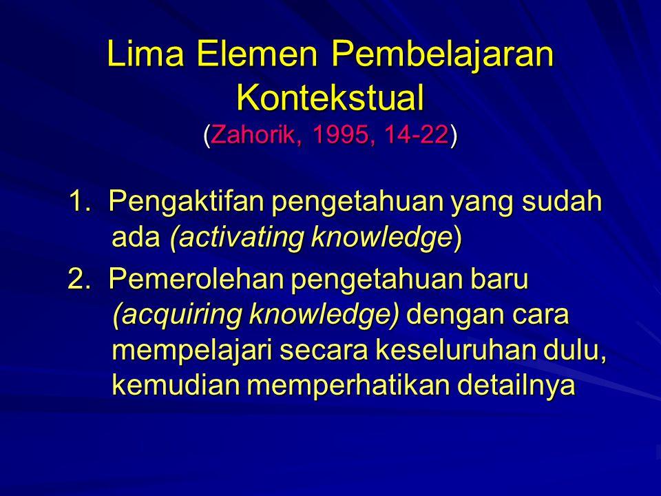 Lima Elemen Pembelajaran Kontekstual (Zahorik, 1995, 14-22) 1.