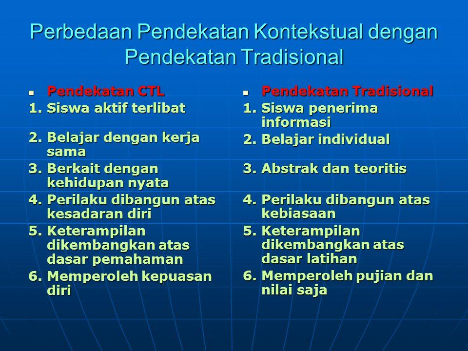 Perbedaan Pendekatan Kontekstual dengan Pendekatan Tradisional Pendekatan CTL Pendekatan CTL 1.