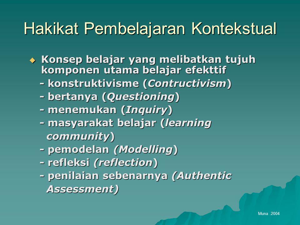 Hakikat Pembelajaran Kontekstual  Konsep belajar yang melibatkan tujuh komponen utama belajar efekttif - konstruktivisme (Contructivism) - konstruktivisme (Contructivism) - bertanya (Questioning) - bertanya (Questioning) - menemukan (Inquiry) - menemukan (Inquiry) - masyarakat belajar (learning - masyarakat belajar (learning community) community) - pemodelan (Modelling) - pemodelan (Modelling) - refleksi (reflection) - refleksi (reflection) - penilaian sebenarnya (Authentic - penilaian sebenarnya (Authentic Assessment) Assessment) Muna.2004