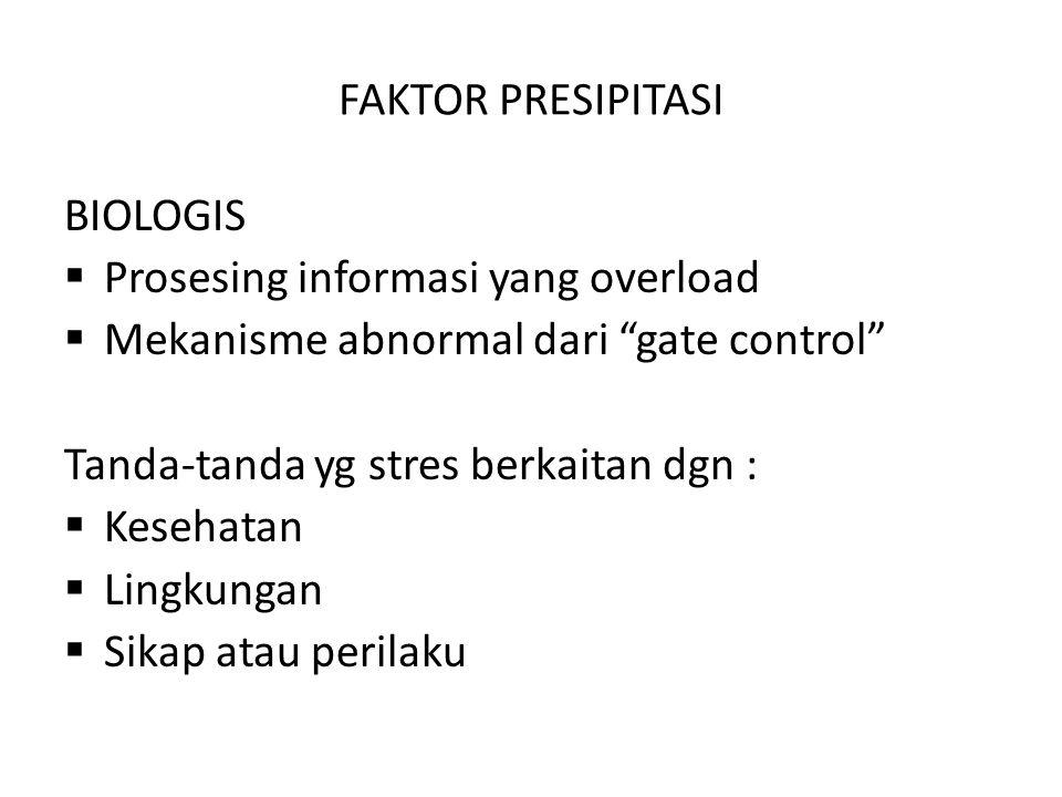 """FAKTOR PRESIPITASI BIOLOGIS  Prosesing informasi yang overload  Mekanisme abnormal dari """"gate control"""" Tanda-tanda yg stres berkaitan dgn :  Keseha"""
