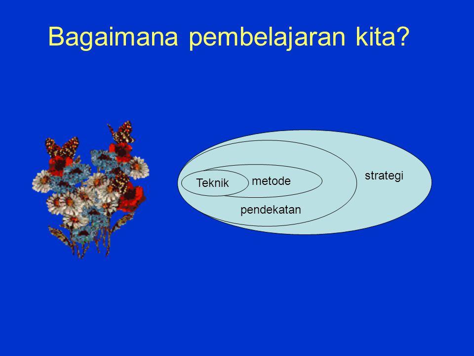 metode Teknik pendekatan strategi Bagaimana pembelajaran kita?