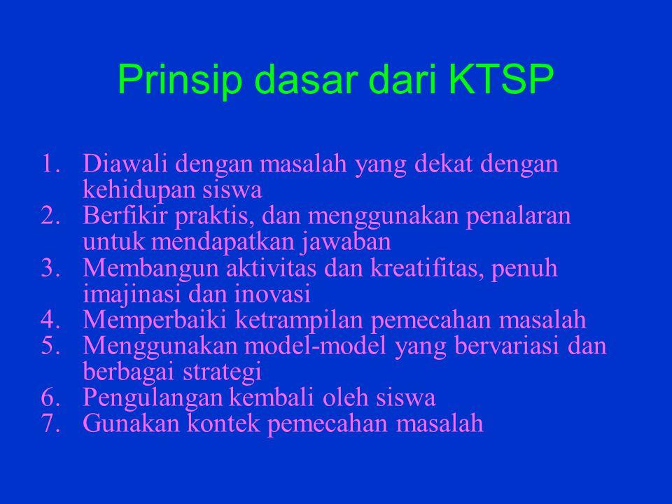 Prinsip dasar dari KTSP 1.Diawali dengan masalah yang dekat dengan kehidupan siswa 2.Berfikir praktis, dan menggunakan penalaran untuk mendapatkan jaw