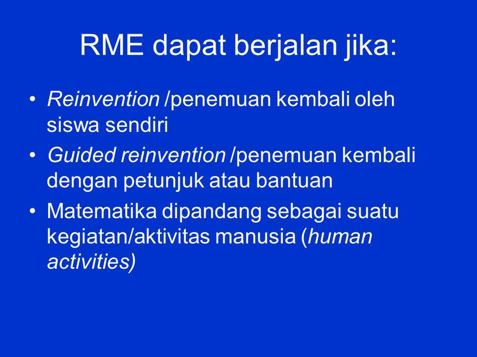 RME dapat berjalan jika: Reinvention /penemuan kembali oleh siswa sendiri Guided reinvention /penemuan kembali dengan petunjuk atau bantuan Matematika