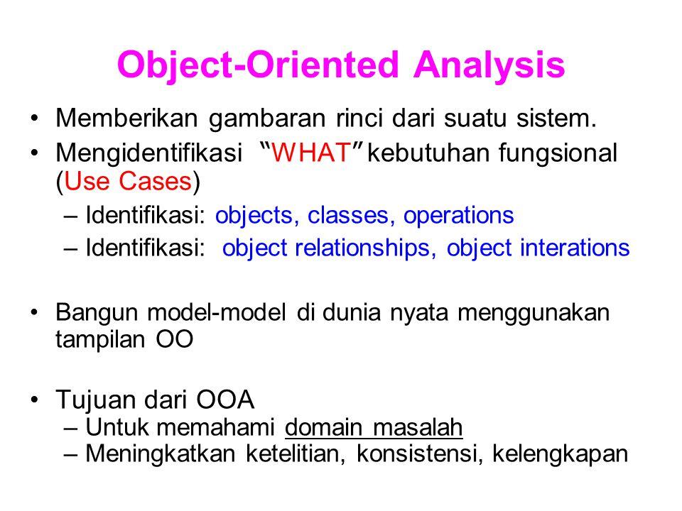 """Object-Oriented Analysis Memberikan gambaran rinci dari suatu sistem. Mengidentifikasi """" WHAT """" kebutuhan fungsional (Use Cases) –Identifikasi: object"""