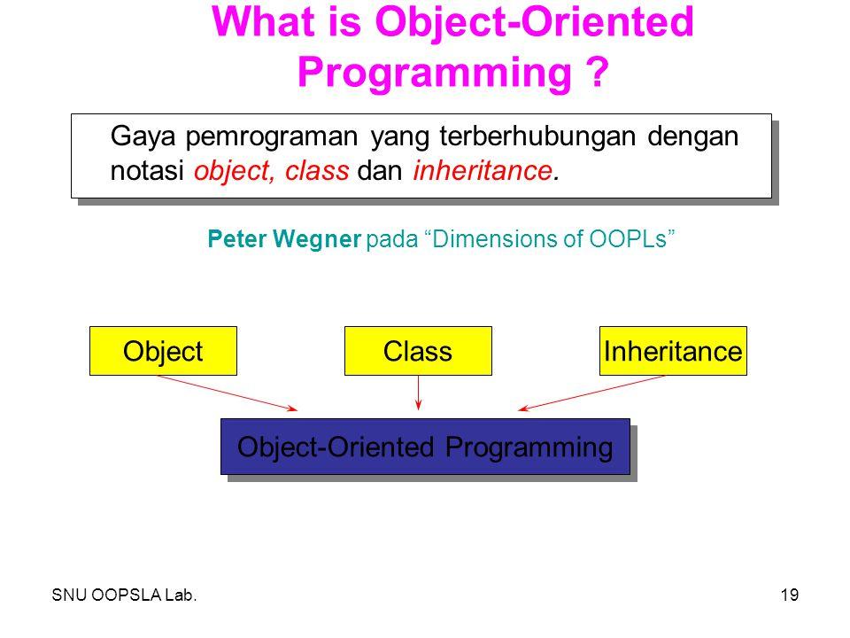 SNU OOPSLA Lab.19 What is Object-Oriented Programming ? Gaya pemrograman yang terberhubungan dengan notasi object, class dan inheritance. Peter Wegner