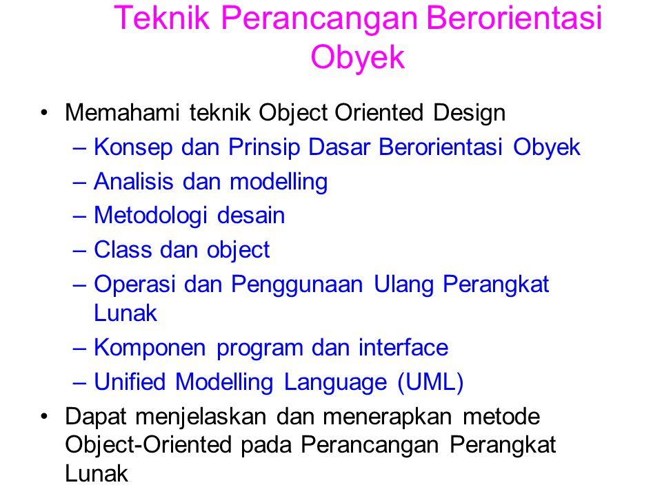 Teknik Perancangan Berorientasi Obyek Memahami teknik Object Oriented Design –Konsep dan Prinsip Dasar Berorientasi Obyek –Analisis dan modelling –Met