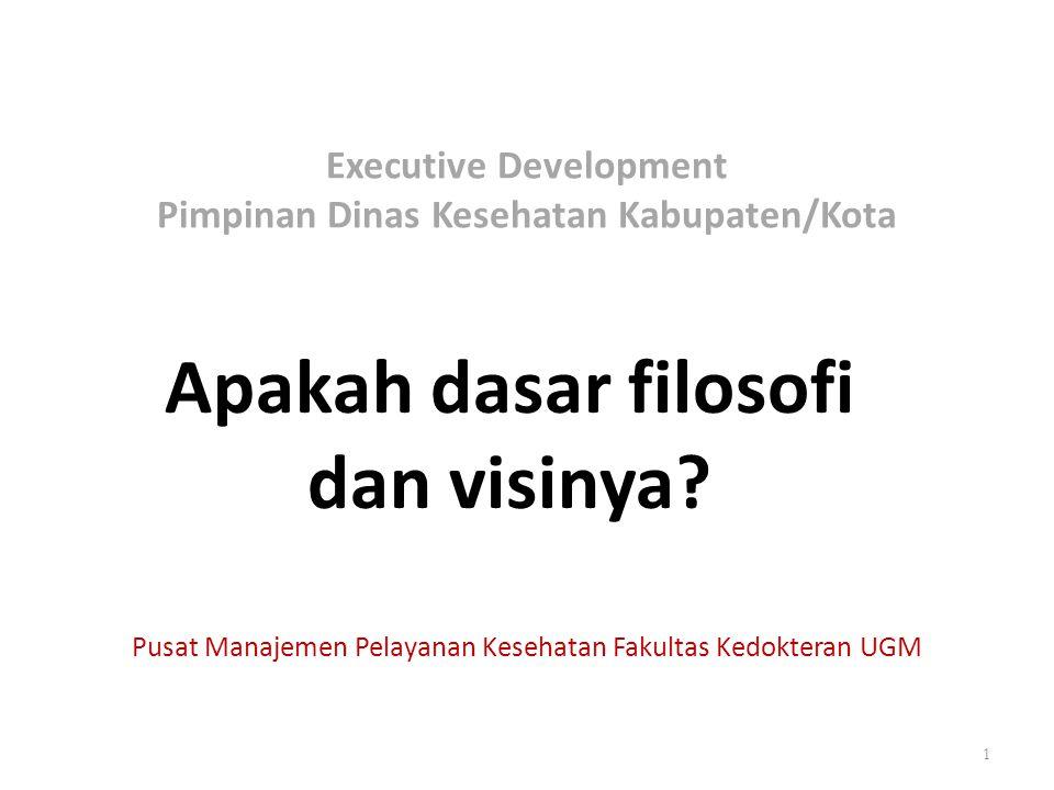 Executive Development Pimpinan Dinas Kesehatan Kabupaten/Kota Apakah dasar filosofi dan visinya? 1 Pusat Manajemen Pelayanan Kesehatan Fakultas Kedokt
