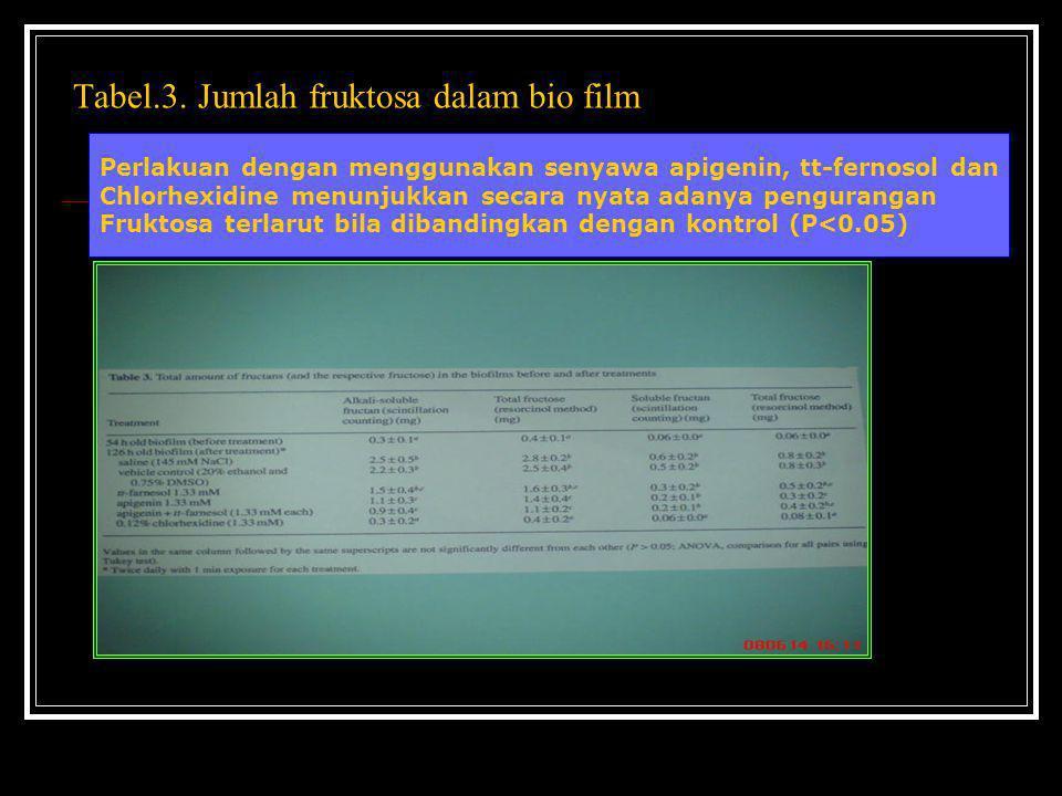 Tabel.3. Jumlah fruktosa dalam bio film Perlakuan dengan menggunakan senyawa apigenin, tt-fernosol dan Chlorhexidine menunjukkan secara nyata adanya p