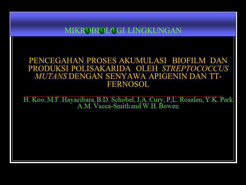 PENCEGAHAN PROSES AKUMULASI BIOFILM DAN PRODUKSI POLISAKARIDA OLEH STREPTOCOCCUS MUTANS DENGAN SENYAWA APIGENIN DAN TT- FERNOSOL H. Koo, M.F. Hayaciba