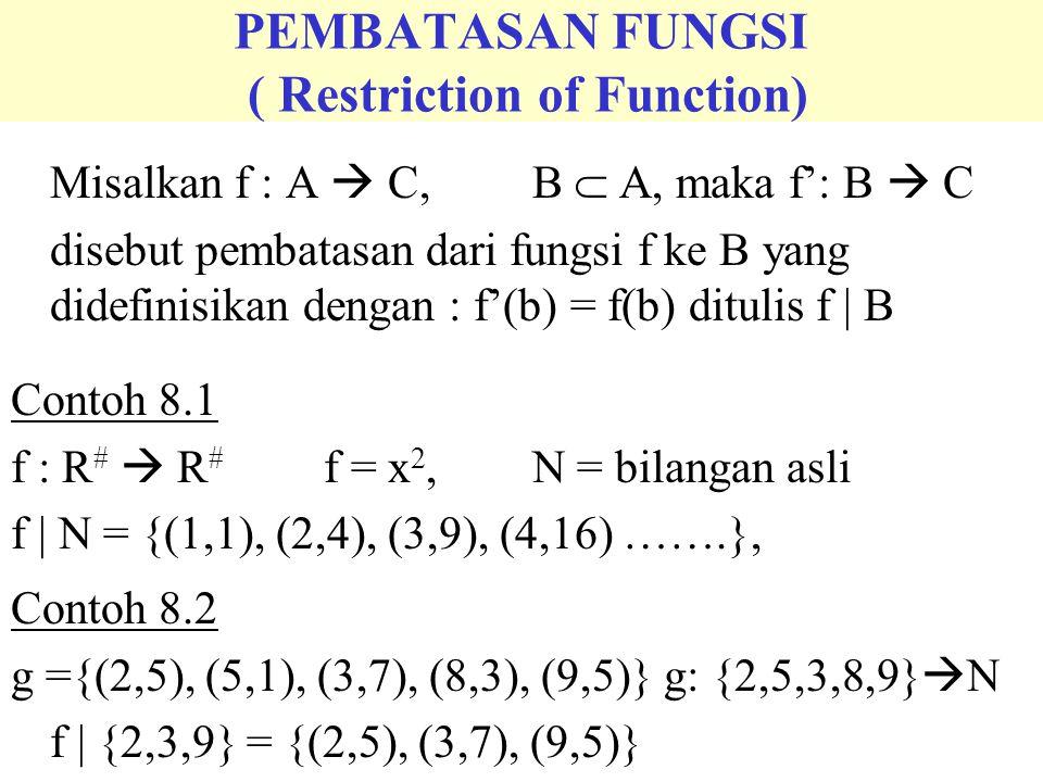 PERLUASAN FUNGSI ( Extension of Function) Misalkan f : A  C,B  A, maka F: B  C disebut perluasan dari fungsi f ke B yang didefinisikan dengan : F(a) = f(a) Contoh 8.3 f ={(1,2), (3,4), (7,2)} g: {1,3,7}  N F = {(1,2), (3,4), (5,6), (7,2)}