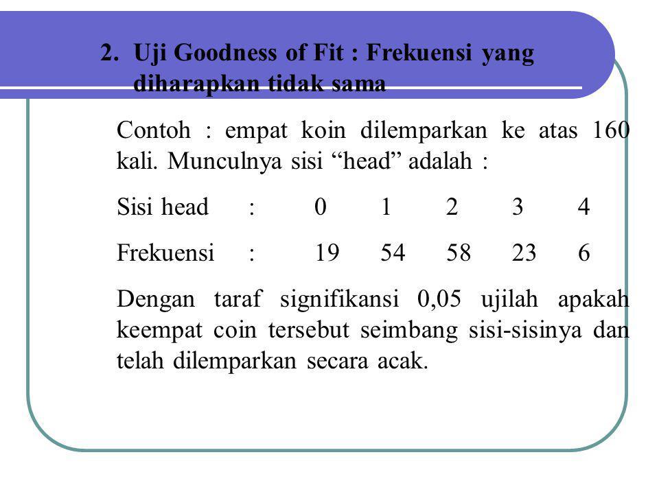 """2.Uji Goodness of Fit : Frekuensi yang diharapkan tidak sama Contoh : empat koin dilemparkan ke atas 160 kali. Munculnya sisi """"head"""" adalah : Sisi hea"""