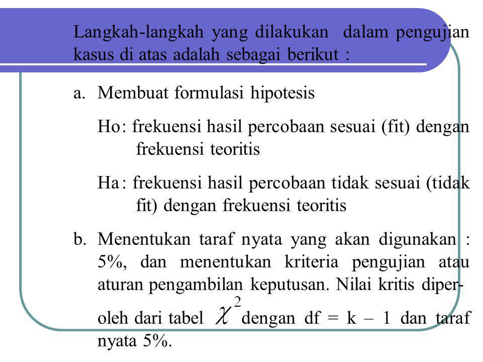 Langkah-langkah yang dilakukan dalam pengujian kasus di atas adalah sebagai berikut : a.Membuat formulasi hipotesis Ho: frekuensi hasil percobaan sesu
