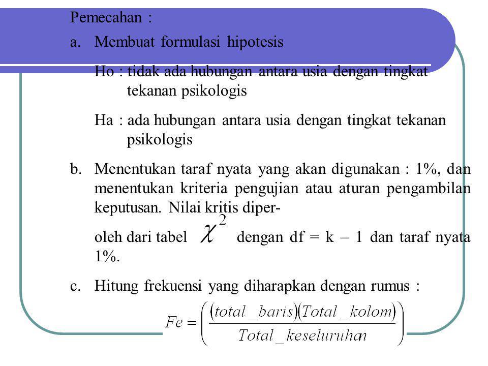 Pemecahan : a.Membuat formulasi hipotesis Ho: tidak ada hubungan antara usia dengan tingkat tekanan psikologis Ha: ada hubungan antara usia dengan tin