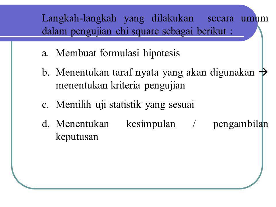Langkah-langkah yang dilakukan secara umum dalam pengujian chi square sebagai berikut : a.Membuat formulasi hipotesis b.Menentukan taraf nyata yang ak