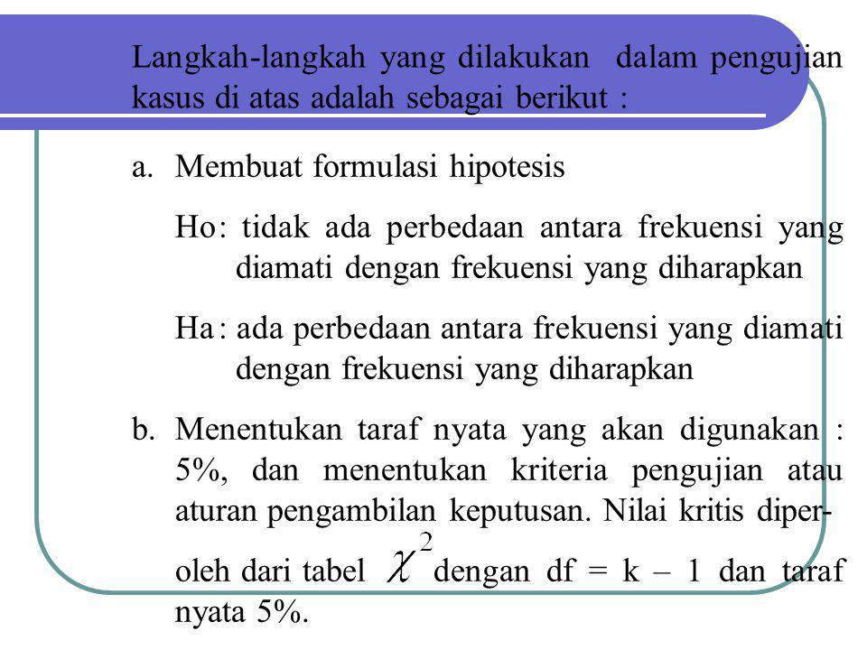 Langkah-langkah yang dilakukan dalam pengujian kasus di atas adalah sebagai berikut : a.Membuat formulasi hipotesis Ho: tidak ada perbedaan antara fre