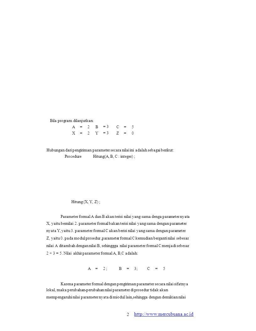 Bila program dilanjutkan: AXAX ==== 2222 BYBY = 3 CZCZ ==== 5050 Hubungan dari pengiriman parameter secara nilai ini adalah sebagai berikut: Procedure