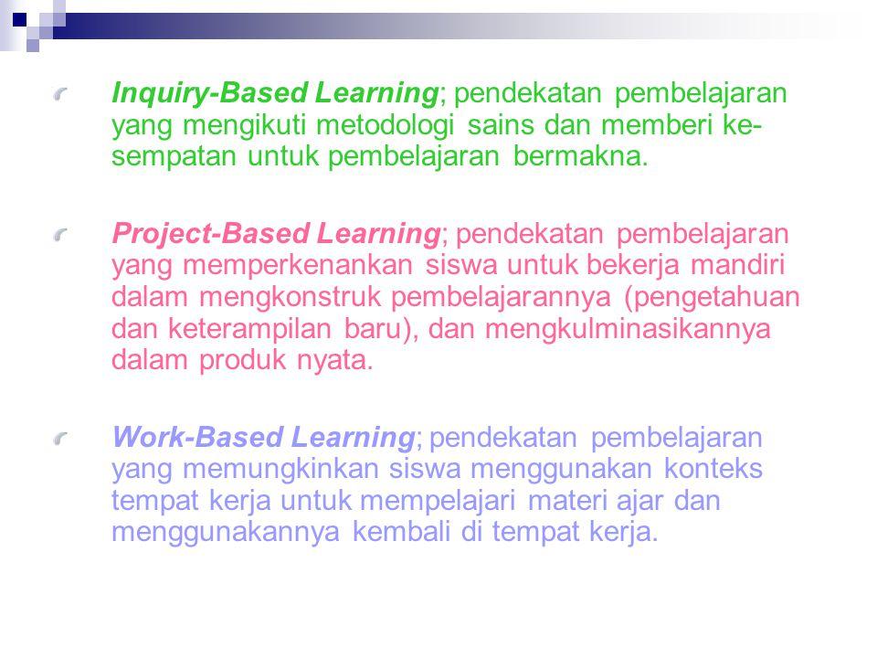 Inquiry-Based Learning; pendekatan pembelajaran yang mengikuti metodologi sains dan memberi ke- sempatan untuk pembelajaran bermakna.