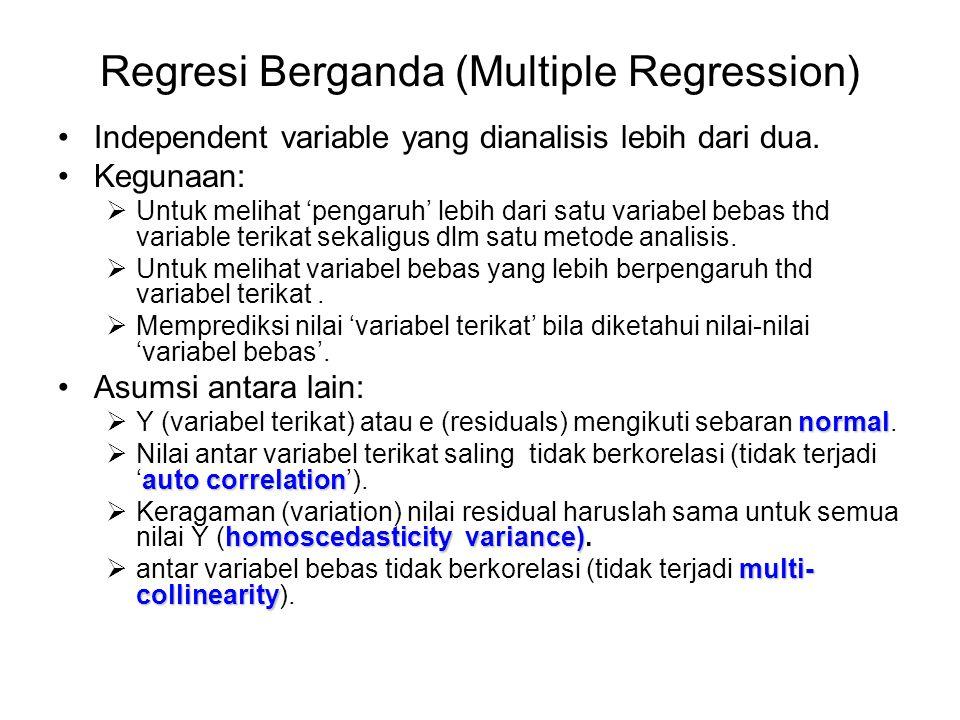 Regresi Berganda (Multiple Regression) Independent variable yang dianalisis lebih dari dua. Kegunaan:  Untuk melihat 'pengaruh' lebih dari satu varia