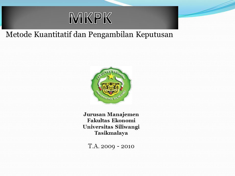 Metode Kuantitatif dan Pengambilan Keputusan T.A. 2009 - 2010 Jurusan Manajemen Fakultas Ekonomi Universitas Siliwangi Tasikmalaya