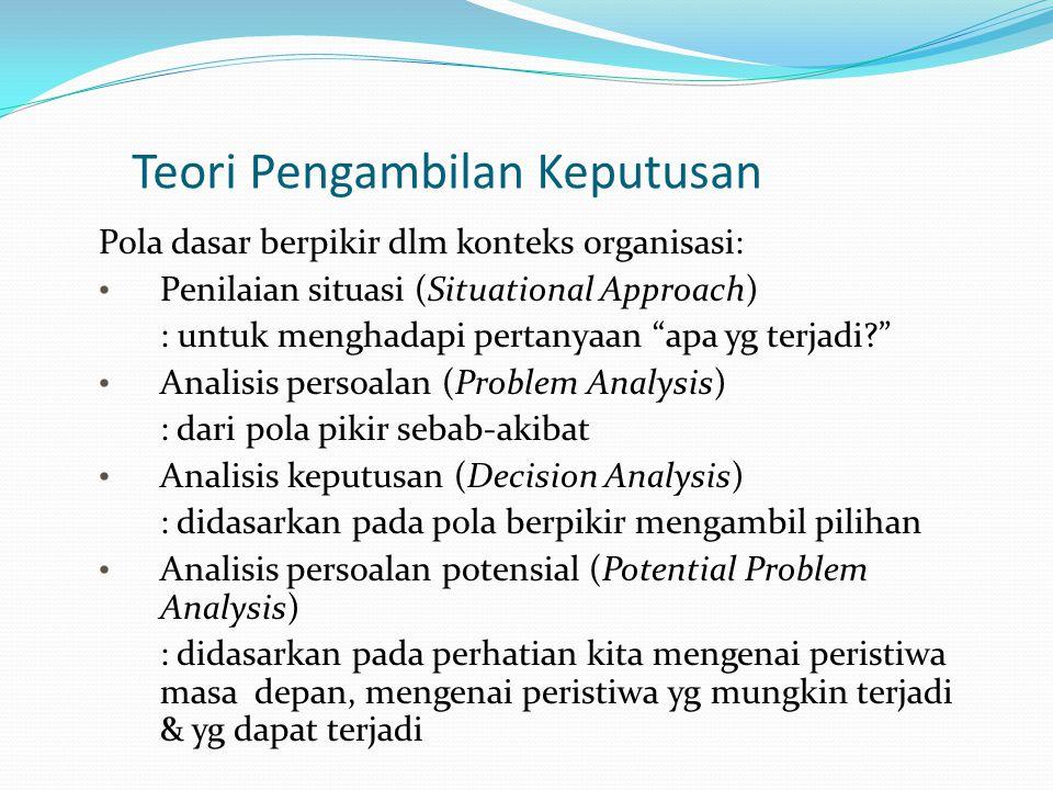 Teori Pengambilan Keputusan Pola dasar berpikir dlm konteks organisasi: Penilaian situasi (Situational Approach)  : untuk menghadapi pertanyaan apa yg terjadi? Analisis persoalan (Problem Analysis)  : dari pola pikir sebab-akibat Analisis keputusan (Decision Analysis)  : didasarkan pada pola berpikir mengambil pilihan Analisis persoalan potensial (Potential Problem Analysis)  : didasarkan pada perhatian kita mengenai peristiwa masa depan, mengenai peristiwa yg mungkin terjadi & yg dapat terjadi