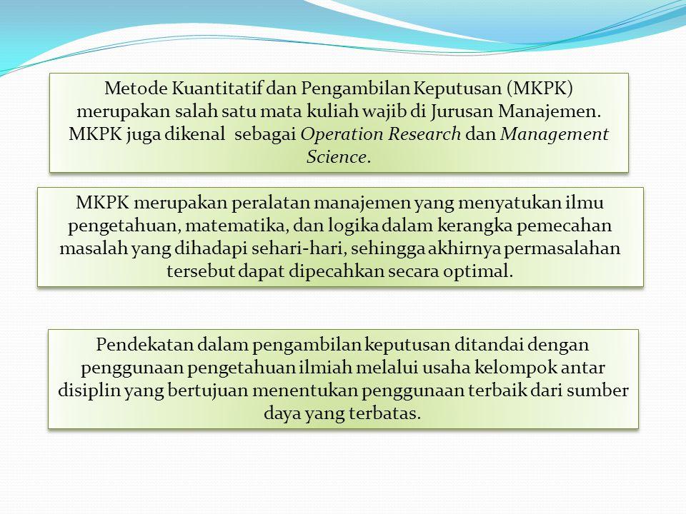 Metode Kuantitatif dan Pengambilan Keputusan (MKPK) merupakan salah satu mata kuliah wajib di Jurusan Manajemen. MKPK juga dikenal sebagai Operation R