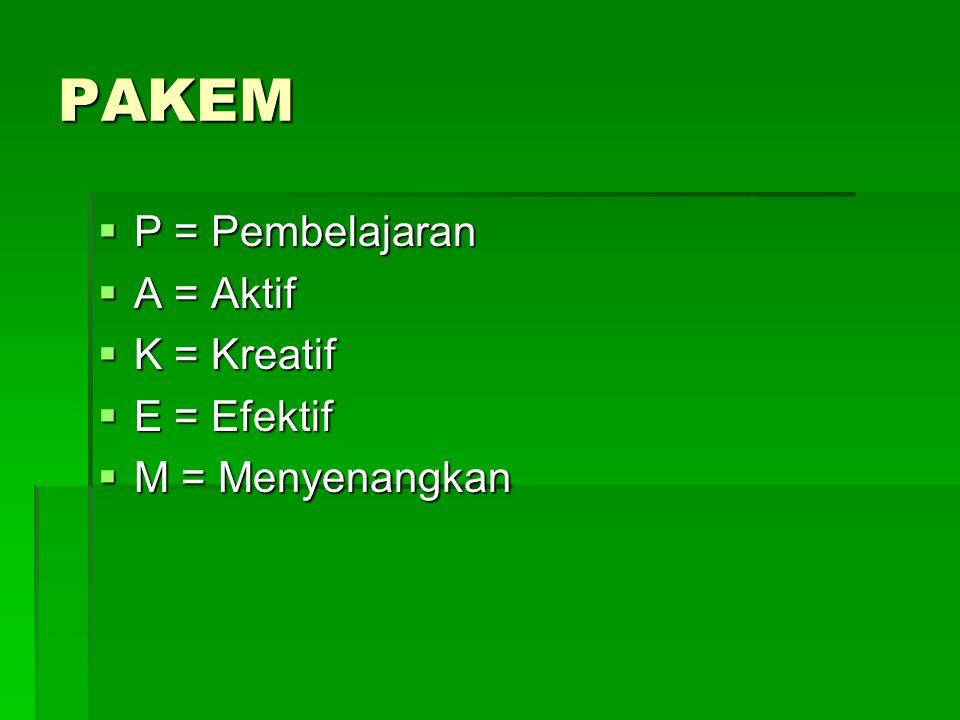 PAKEM  P = Pembelajaran  A = Aktif  K = Kreatif  E = Efektif  M = Menyenangkan