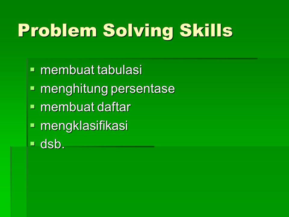 Problem Solving Skills  membuat tabulasi  menghitung persentase  membuat daftar  mengklasifikasi  dsb.