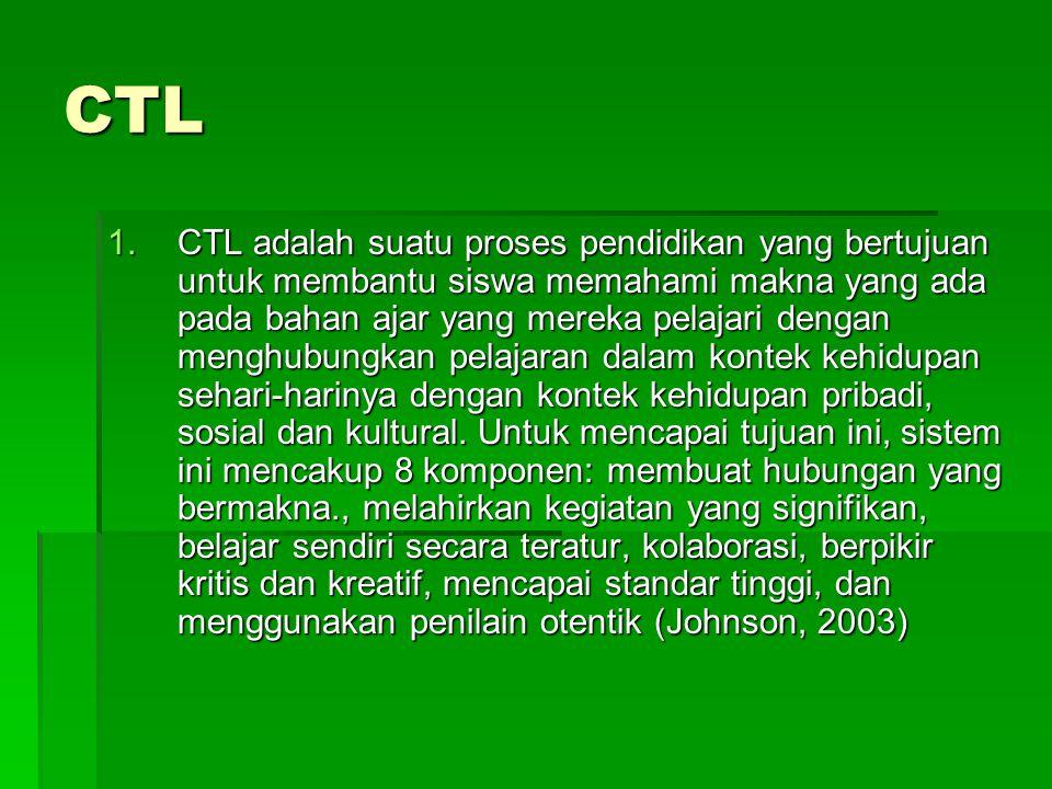CTL 1.CTL adalah suatu proses pendidikan yang bertujuan untuk membantu siswa memahami makna yang ada pada bahan ajar yang mereka pelajari dengan menghubungkan pelajaran dalam kontek kehidupan sehari-harinya dengan kontek kehidupan pribadi, sosial dan kultural.