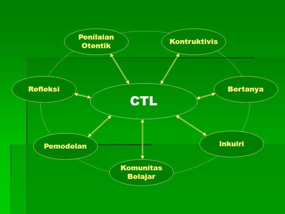Ciri-ciri CTL  Bermakna  Hubungan kelas dengan dunia nyata  Berpikir tingkat tinggi, pengembangan  Kritis, kreatif  Inkuiri, bertanya  Komunikasi, kolaborasi  Penialaian otentik  Refleksi  Model  Masyarakat belajar