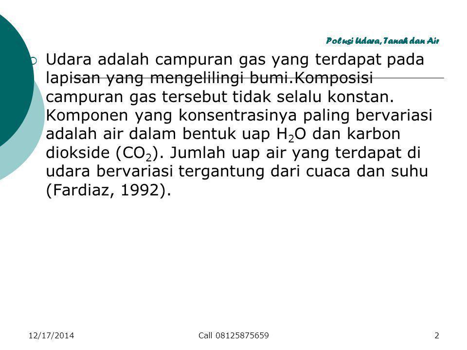 12/17/2014Call 081258756593 Polusi Udara, Tanah dan Air  Udara di alam tidak pernah ditemukan bersih tanpa polutan sama sekali.