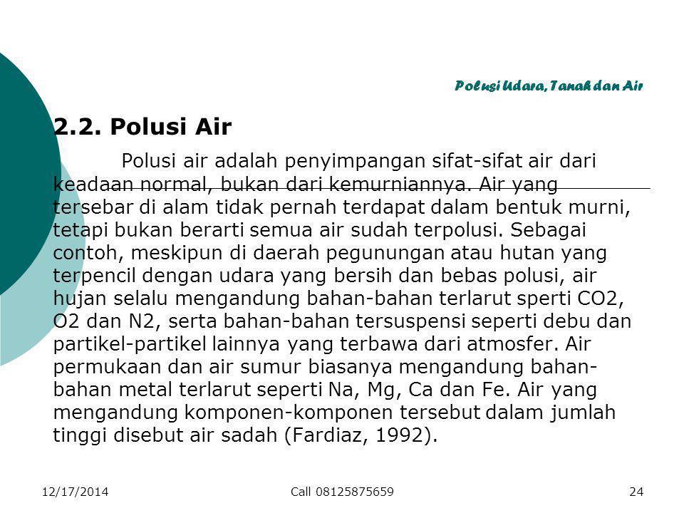 Polusi Udara, Tanah dan Air 2.2.