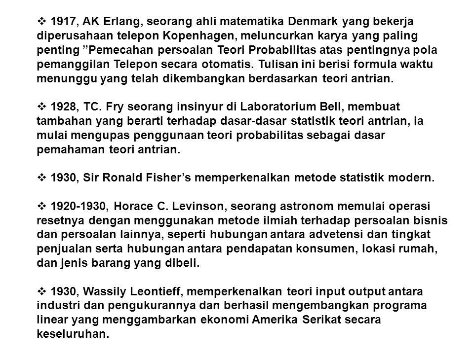 """ 1917, AK Erlang, seorang ahli matematika Denmark yang bekerja diperusahaan telepon Kopenhagen, meluncurkan karya yang paling penting """"Pemecahan pers"""